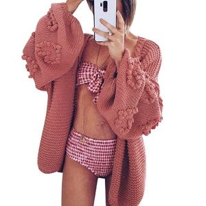 Sweaters - Chunky knit mauve cardigan with sleeve detailing